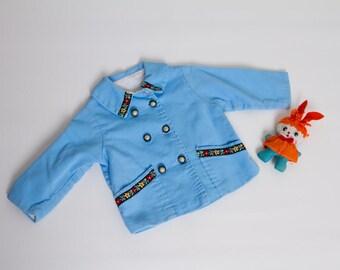 vintage 1960s girl's blue folk jacket