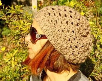 Chic Statement Slouchy Hat, Women handmade hat, sand colour