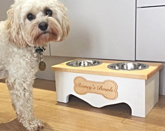 raised dog bowl stand farmhouse furniture wooden pet feeder with two stainless steel bowls
