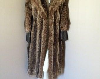 Full Length Raccoon Leather Coat
