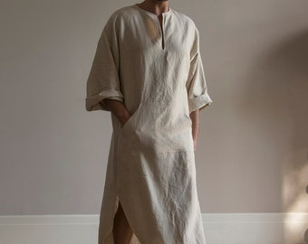 Natural color pure linen tunic for men. Modern design caftan for him with front pocket.Softened fabric.