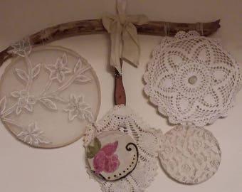 Driftwood Wall Hanging, Doily Wall Hanging, Vintage Lace Wall Hanging, Vintage Decor, Gifts for her, Shabby chic, Bohemian Wall Hanging