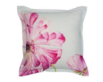 Ranunculus Pink Linen Cushion