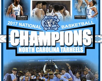 North Carolina Tarheels National Championship Poster, UNC Tarheels FREE SHIPPING
