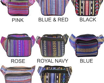 Fanny Pack Woven Fabric Pattern Stripe - Bohemian Tribal Aztec by SoJourner Bags (multiple colors & variations) - Fully Customizable