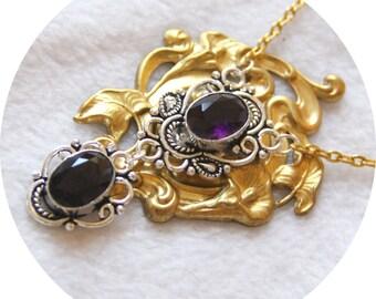 Art Nouveau necklace purple silver and gold, gilded, Art Nouveau necklace Art Nouveau Lily necklace Art Medallion necklace