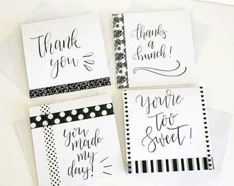 Thank you cards, Thank you, Thank you notes, Thank you card set, Thank you card, Black and white thank you, Handmade card, Blank thank you