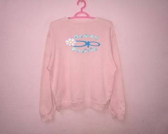 Rare!! Ocean Pacific Flower Pink Colors Pullover Jumper Spellout  Sweatshirt Ladies Size M