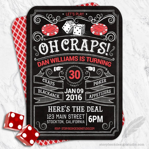 Casino Birthday Party Invitations craps blackjack – Casino Birthday Party Invitations