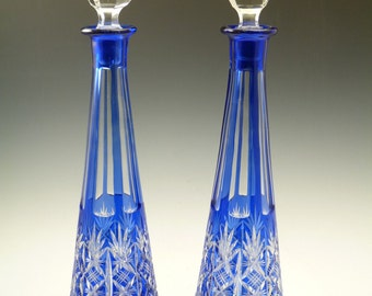 """English Crystal - Stunning Pair Cut-to-Clear DECANTERS - 17"""""""