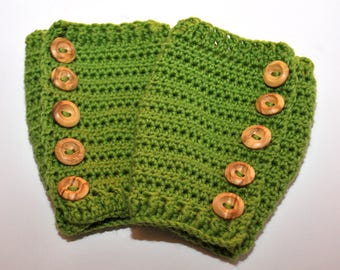 Luxury Button-Up Baby Leg Warmers, Crochet Baby Wearing Accessory, 6-12 months