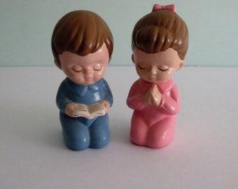 Vintage Praying Boy & Girl Figurines Handpainted Figurines Vintage Children's Decor
