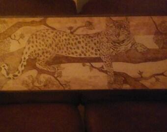 Handmade Leopard Wood Burning
