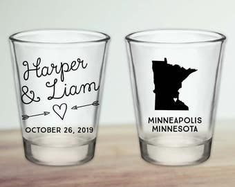 Custom Minnesota Wedding Favor Shot Glasses