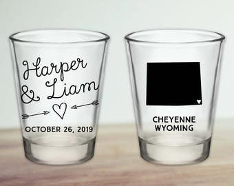 Custom Wyoming Wedding Favor Shot Glasses