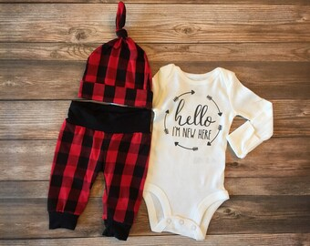 Hello There Buffalo Plaid Baby Boy Newborn Outfit, READY TO SHIP, Coming home outfit, Plaid, Lumberjack, lumberjack baby
