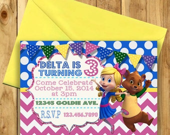 Digital Goldie and Bear Birthday Party Invitation File