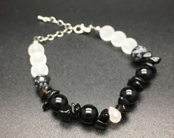 Rose Quartz bracelet ,Frosted Crystal,Snowflake Obsidian,Black-and-White  Japanese Bracelet