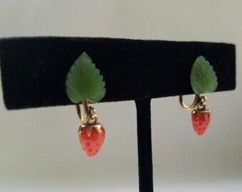 Jade Strawberry Drop Earrings