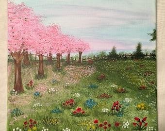 Floral wall art, floral painting, splatter art, flower art, colouful, bright, Floral meadow walk