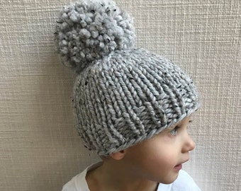Marble Gray Oversized Pom Pom Knitted Hat