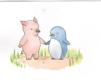 Pig and Penguin Original Watercolor Painting