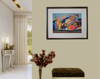 Surreal Art, Abstract, Pastel on paper, Modern art, Drawning, Mixed media, Abstract painting, Certificate, 19.7 x 13.8 in / 50x35 cm