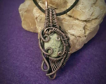 Wire wrapped pendant necklace