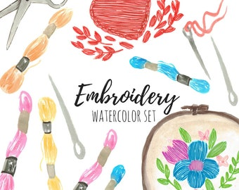 Watercolor clip art - Embroidery Clip Art - Crafting Clip Art - Hand drawn - Commercial use