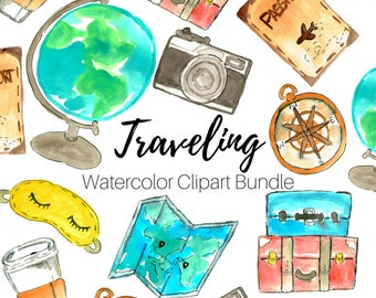 Travel clip art - watercolor clip art - traveling clip art - Hand drawn - Embellishments - Commercial Use