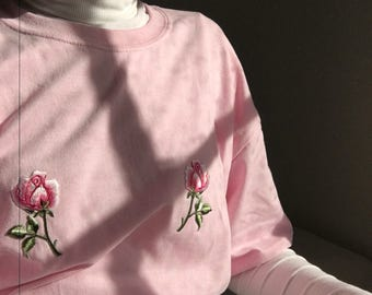 Adorable pale pink t shirt with pink rose floral embroidery detail on chest