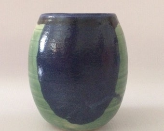 Green & Blue Oval ceramic pot