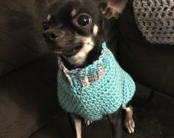 Teal dog sweater XS