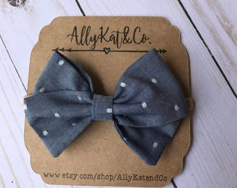 Denim and White Dots {Large} Fabric Bow//nylon headband//baby girl bows//baby bows