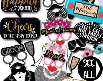 Wedding Photo Booth Props - 38 Printable Party Props,Married Car, Veil, Mr Right, Mrs Always Right, Team Bride&Groom - INSTANT DOWNLOAD PDF