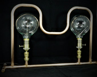 handmade twin copper pipe lamp hand bent and soldered