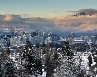 Downtown Vancouver during sunset, Queen Elizabeth Park, snow, winter, mountain, cityscape, Wall decro, fine art, Print, Canada