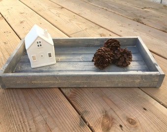 Weathered Grey Wooden Tray with Black Handles