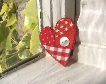 Patchwork Heart brooch