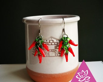 2pcs/1 pair earrings in basque red peppers customize titanium for skin sensitive waterproof hypoallergenic