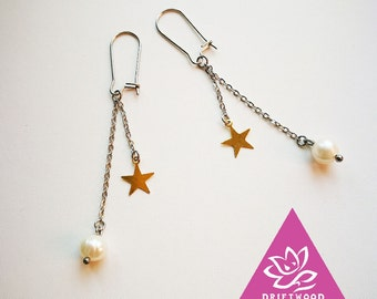 2 pcs ultra simple geometry Pearl soft chic chains hook hypoallergenic earrings star