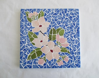 """Small table in mosaic """"Cherry blossoms"""""""
