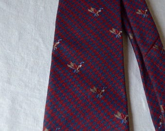 Vintage Wool Silk Blend Tie Picketts Woven in England Ducks Hunting Preppy Rockabilly Navy Blue Burgundy Red