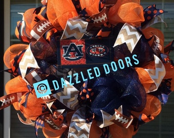 Auburn University Football Wreath. War Eagle Wreath. Auburn Wreath.  Auburn Tigers. Football Door Wreath. Auburn Tigers Wreath. GO Auburn