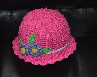 girls crochet hat, girls crochet summer hat, pink crochet hat, flower hat