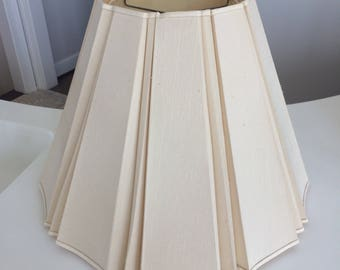 """Vintage Beautiful Cream Raw Silk Thick Lamp Shade ~15"""" Tall; ~20"""" Wide Base"""