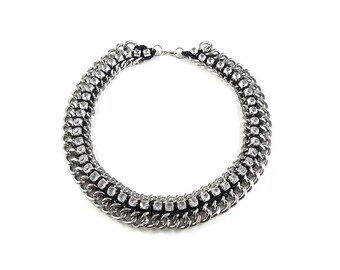 Chunky silver chain necklace, chain necklace, statement necklace, 1990's jewellery, costume jewellery, vintage, heavy necklace.