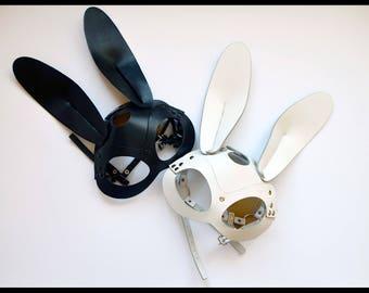 100% Handmade White Leather Rabbit Mask