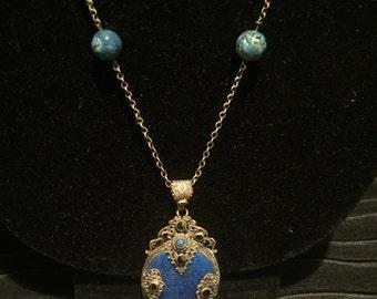 Blue Peking Glass Czech Necklace