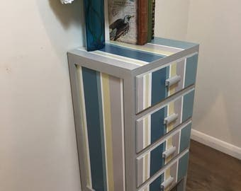 SOLD SOLD Shabby Chic Chest of Drawers Bedside Cabinet Retro Stripe Turquoise Mustard Grey